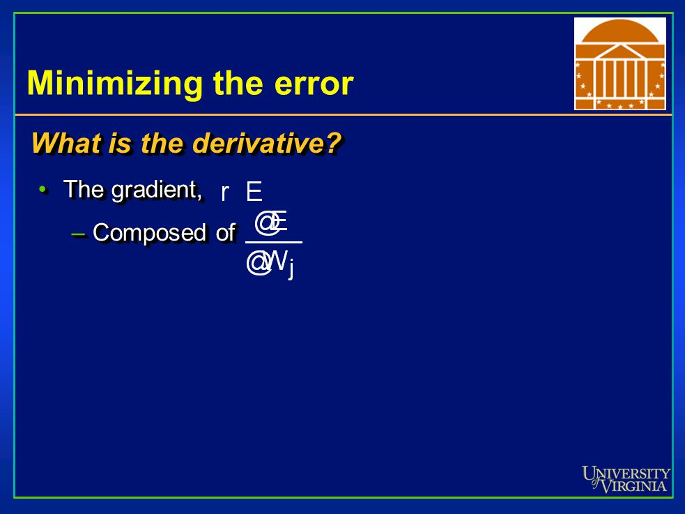 Minimizing the error What is the derivative.