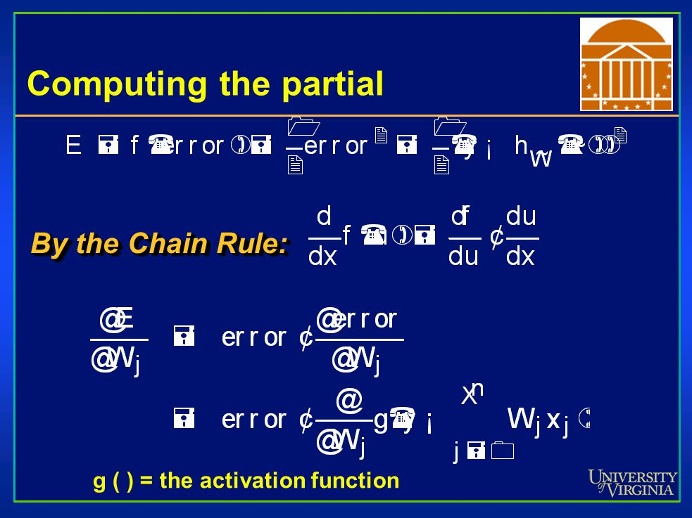 Computing the partial By the Chain Rule: g ( ) = the activation function