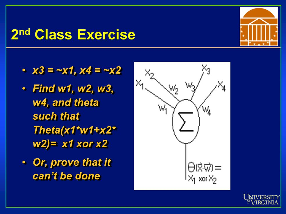 2 nd Class Exercise x3 = ~x1, x4 = ~x2x3 = ~x1, x4 = ~x2 Find w1, w2, w3, w4, and theta such that Theta(x1*w1+x2* w2)= x1 xor x2Find w1, w2, w3, w4, and theta such that Theta(x1*w1+x2* w2)= x1 xor x2 Or, prove that it can't be doneOr, prove that it can't be done x3 = ~x1, x4 = ~x2x3 = ~x1, x4 = ~x2 Find w1, w2, w3, w4, and theta such that Theta(x1*w1+x2* w2)= x1 xor x2Find w1, w2, w3, w4, and theta such that Theta(x1*w1+x2* w2)= x1 xor x2 Or, prove that it can't be doneOr, prove that it can't be done