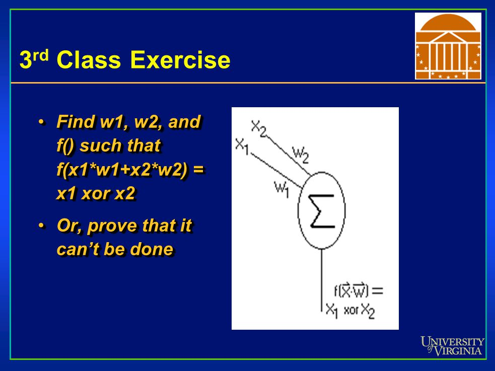 3 rd Class Exercise Find w1, w2, and f() such that f(x1*w1+x2*w2) = x1 xor x2Find w1, w2, and f() such that f(x1*w1+x2*w2) = x1 xor x2 Or, prove that it can't be doneOr, prove that it can't be done Find w1, w2, and f() such that f(x1*w1+x2*w2) = x1 xor x2Find w1, w2, and f() such that f(x1*w1+x2*w2) = x1 xor x2 Or, prove that it can't be doneOr, prove that it can't be done