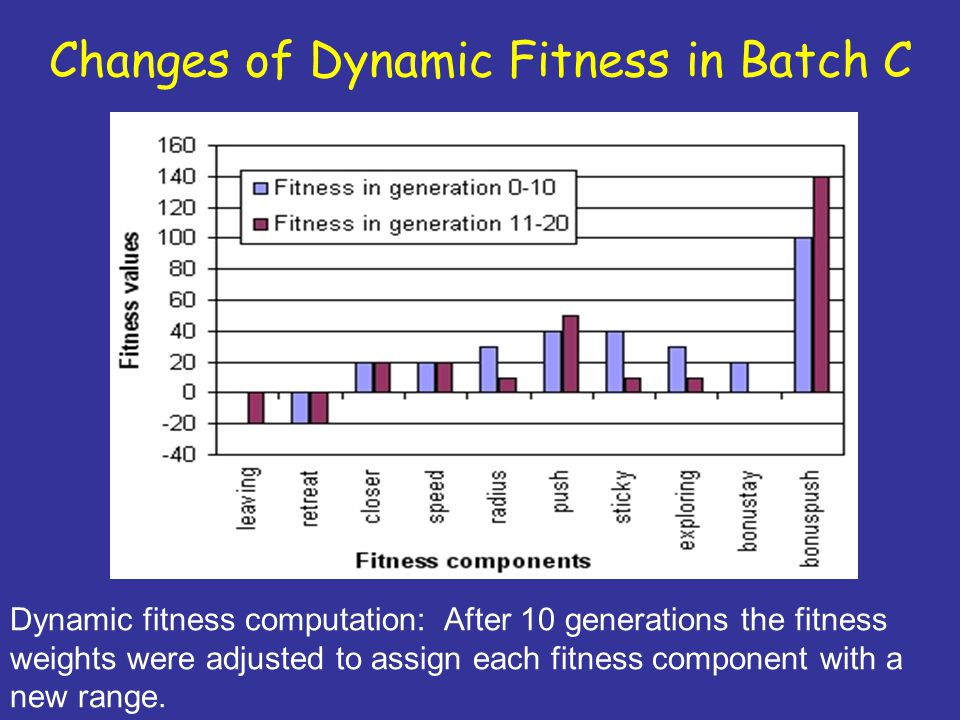 Changes of Dynamic Fitness in Batch C Dynamic fitness computation: After 10 generations the fitness weights were adjusted to assign each fitness component with a new range.