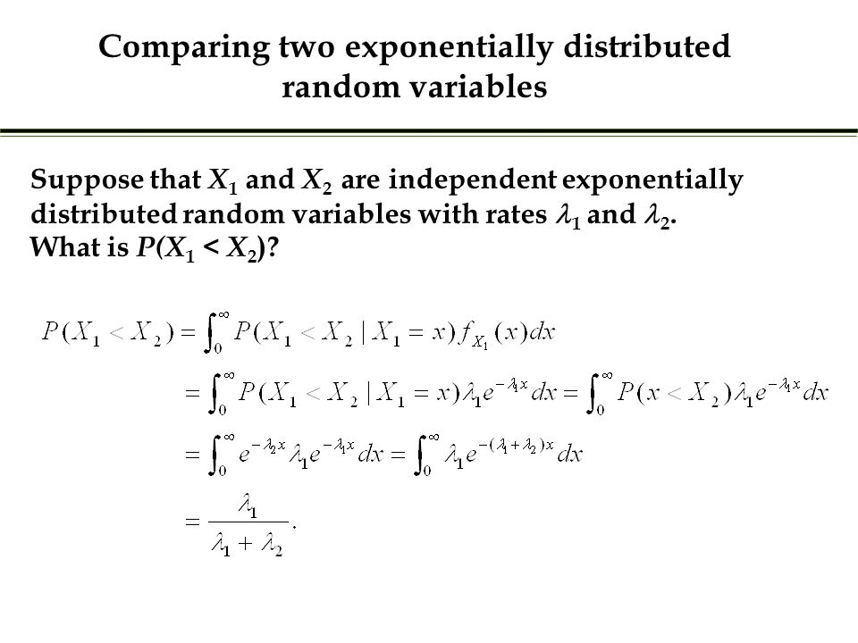 Suppose that X 1 and X 2 are independent exponentially distributed random variables with rates 1 and 2.