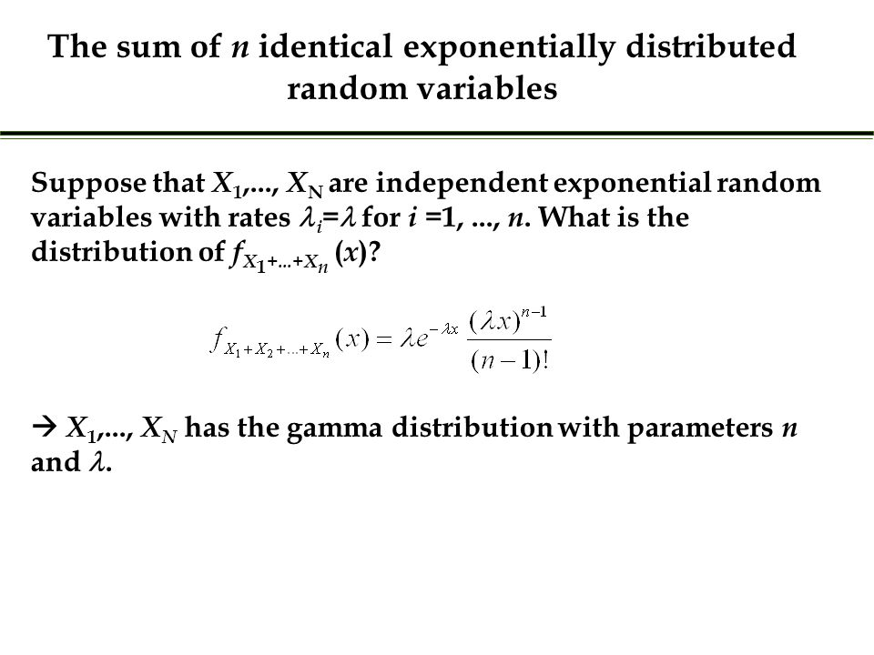 Suppose that X 1,..., X N are independent exponential random variables with rates i = for i =1,..., n.