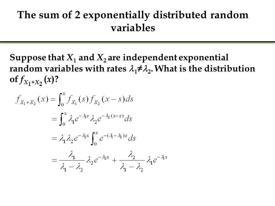 Suppose that X 1 and X 2 are independent exponential random variables with rates 1 ≠ 2.