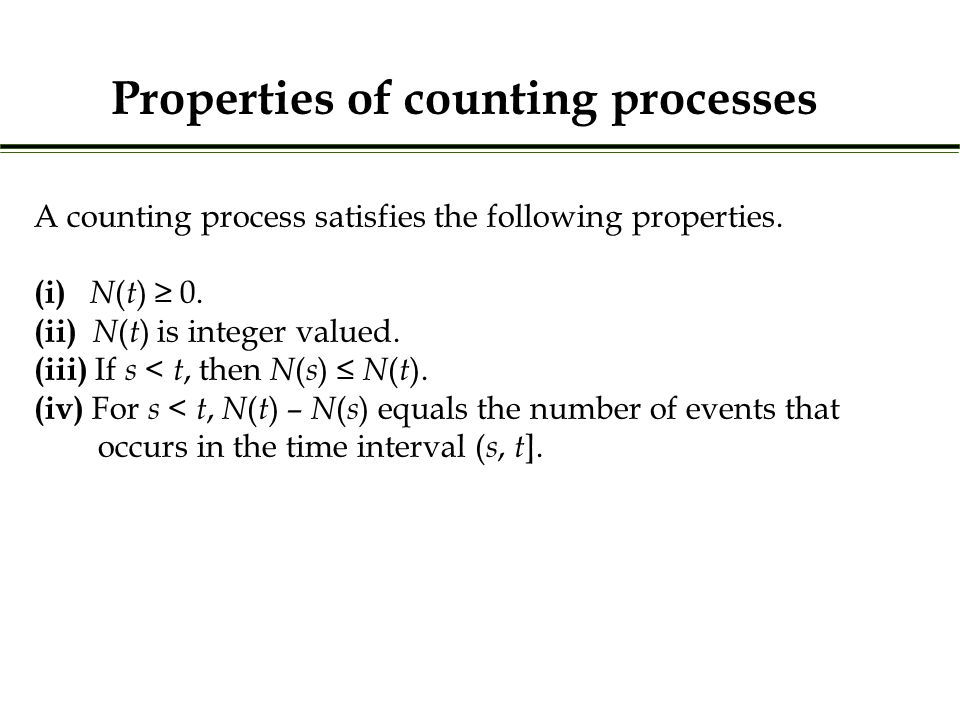 A counting process satisfies the following properties.