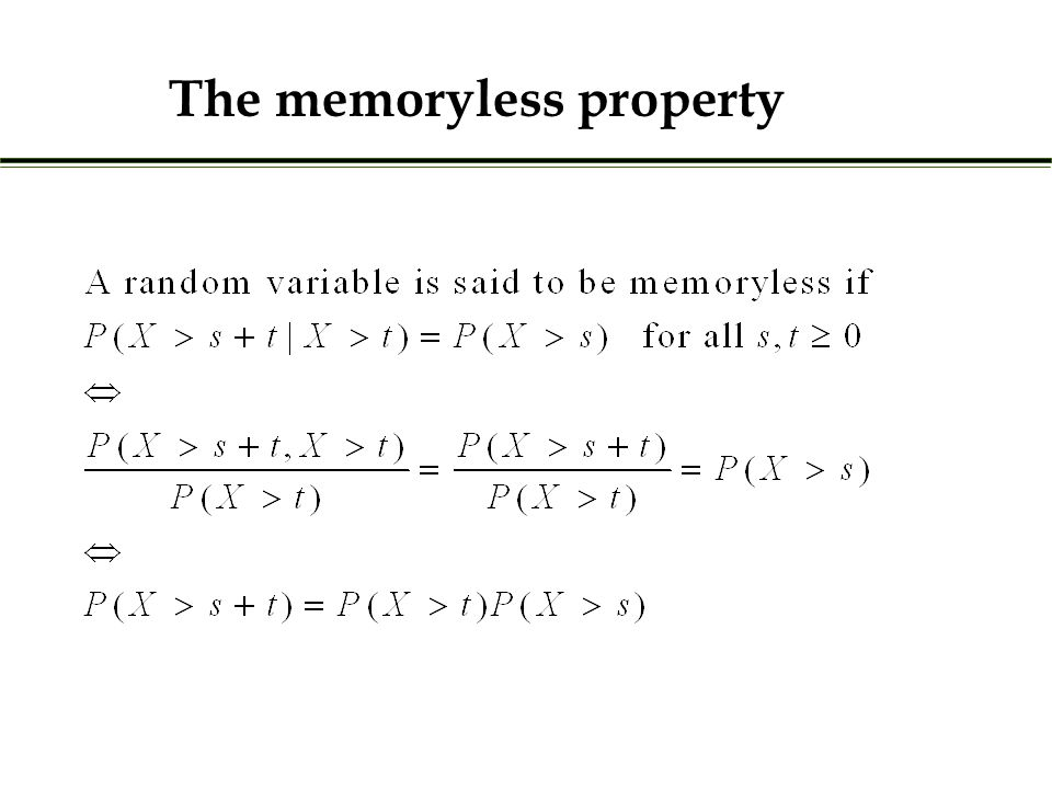 The memoryless property