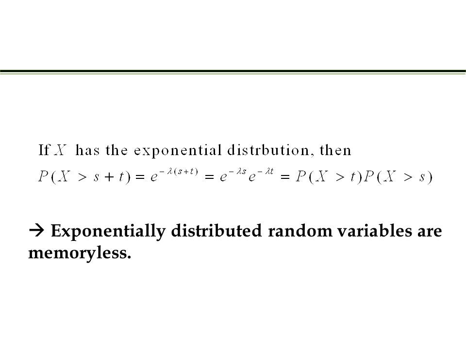  Exponentially distributed random variables are memoryless.
