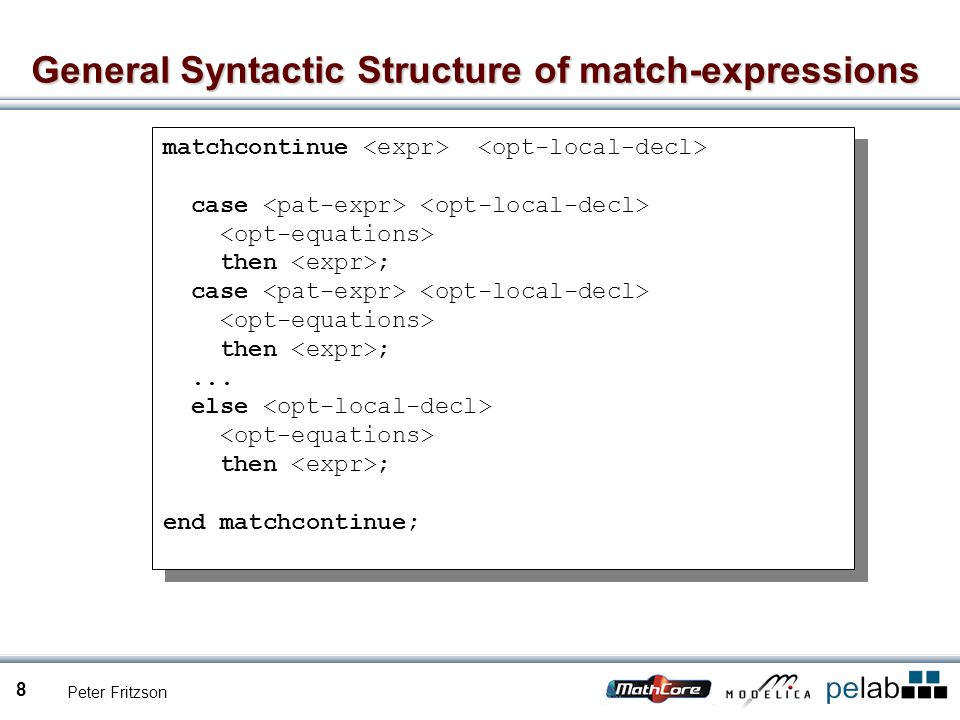 Peter Fritzson 8 General Syntactic Structure of match-expressions matchcontinue case then ; case then ;...