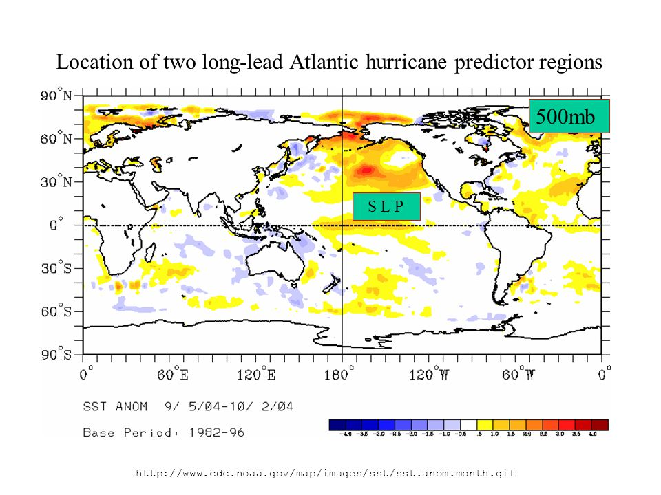 http://www.cdc.noaa.gov/map/images/sst/sst.anom.month.gif S L P 500mb Location of two long-lead Atlantic hurricane predictor regions