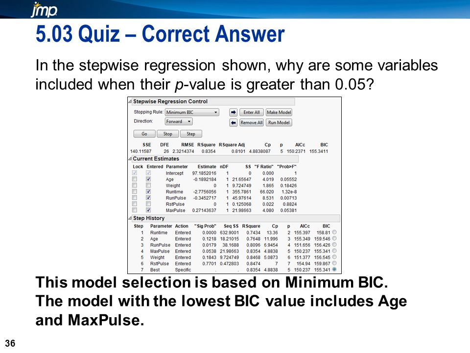 36 5.03 Quiz – Correct Answer In the stepwise regression shown, why are some variables included when their p-value is greater than 0.05.