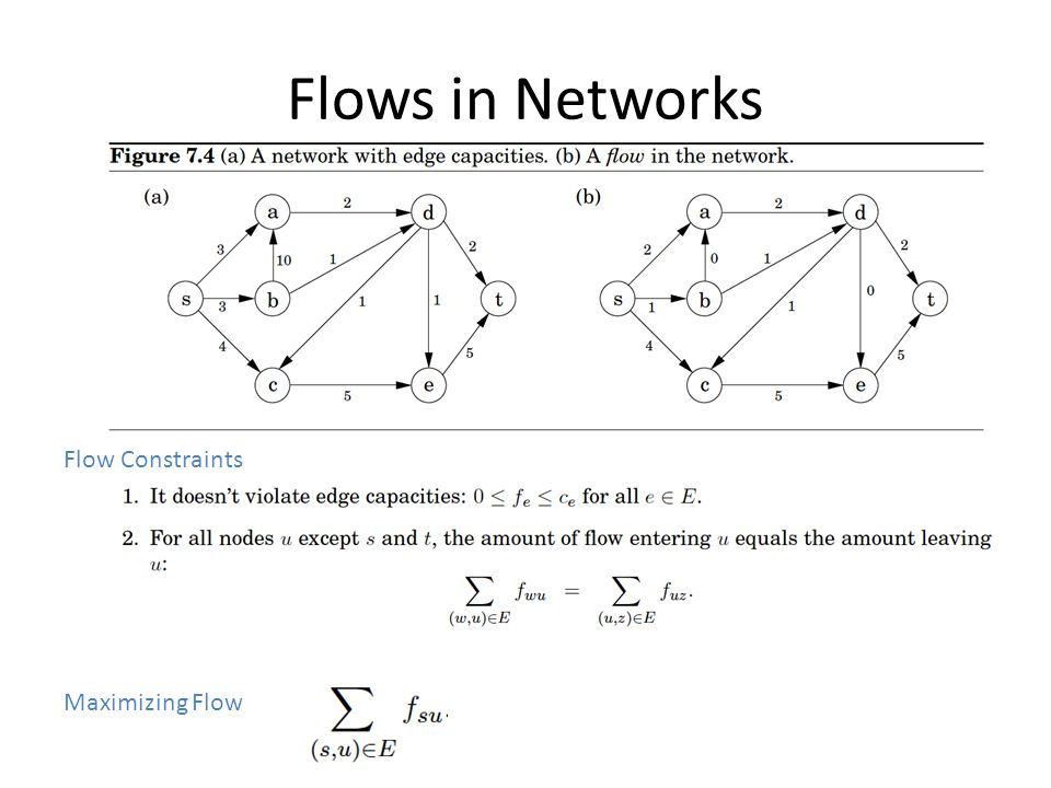 Flows in Networks Flow Constraints Maximizing Flow