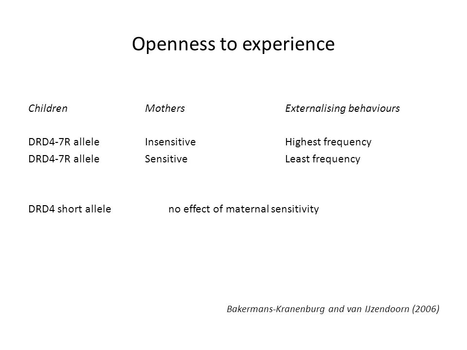 Openness to experience ChildrenMothersExternalising behaviours DRD4-7R alleleInsensitiveHighest frequency DRD4-7R alleleSensitiveLeast frequency DRD4 short alleleno effect of maternal sensitivity Bakermans-Kranenburg and van IJzendoorn (2006)