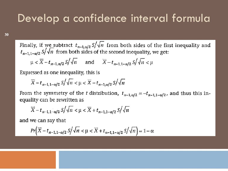 Develop a confidence interval formula 30