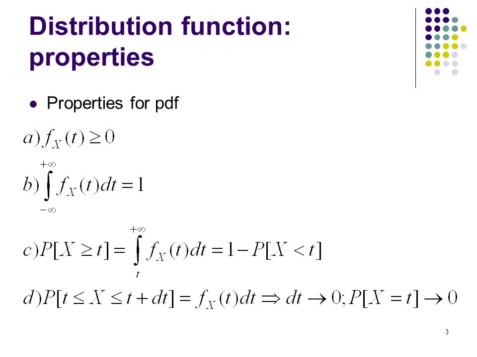 3 Distribution function: properties Properties for pdf