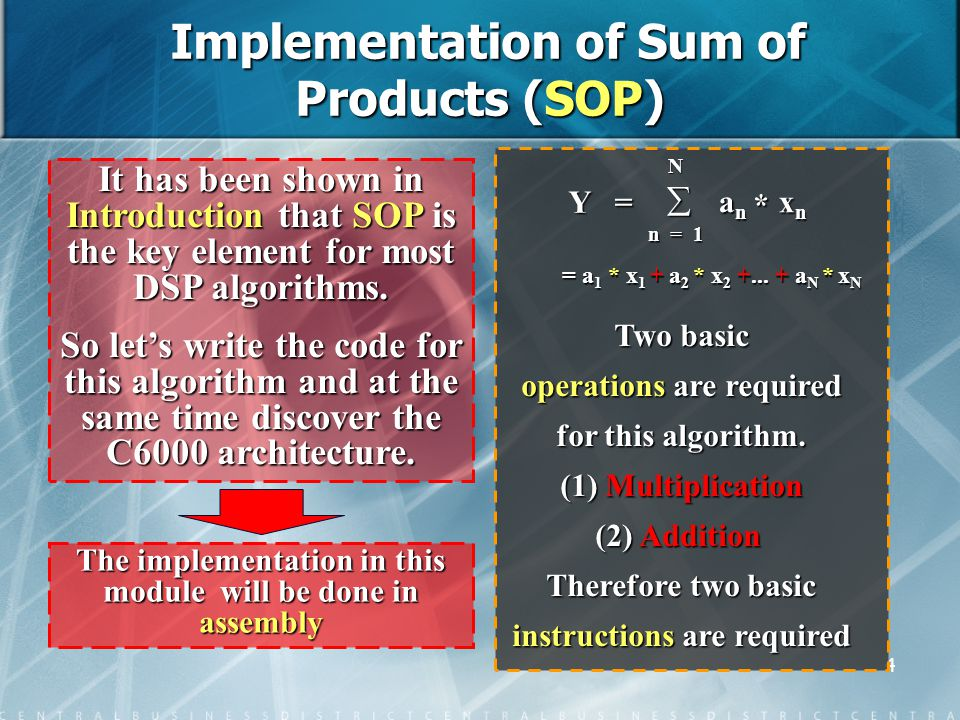 4 It has been shown in Introduction that SOP is the key element for most DSP algorithms.