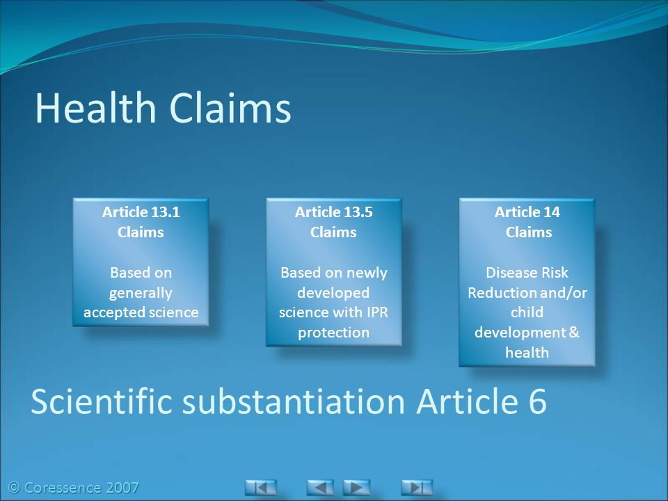 Health Claims Article 13.1 Claims Based on generally accepted science Article 13.5 Claims Based on newly developed science with IPR protection Article 14 Claims Disease Risk Reduction and/or child development & health Scientific substantiation Article 6 © Coressence 2007