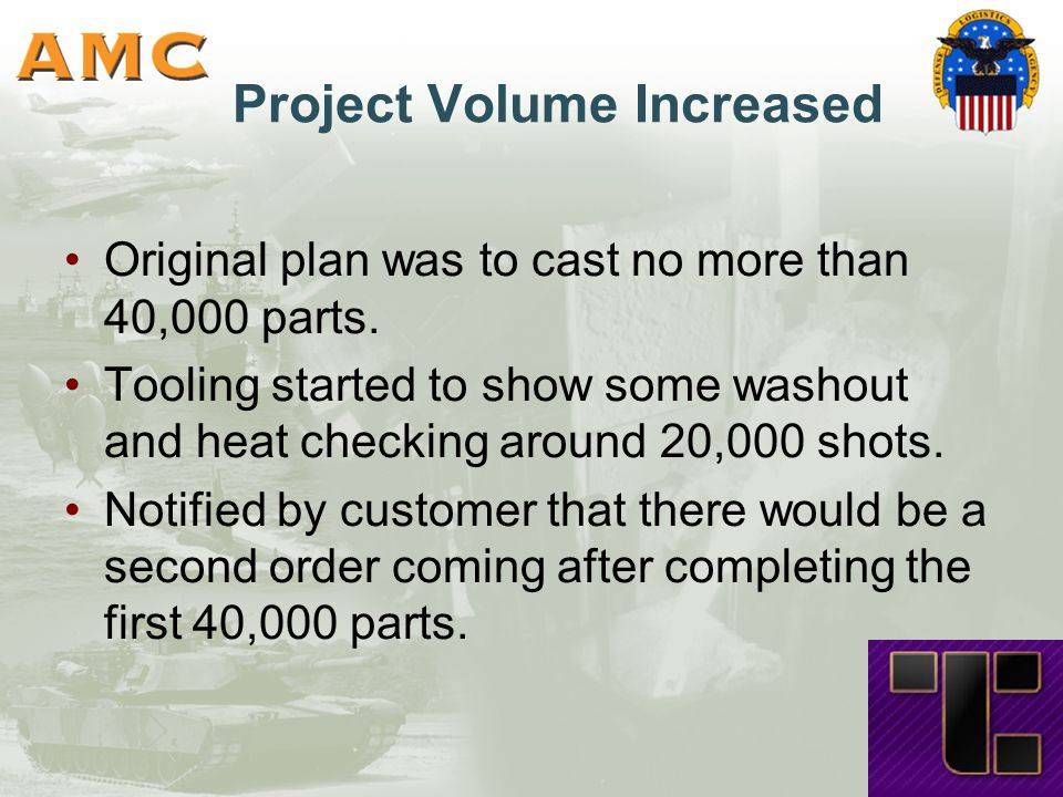 Project Volume Increased Original plan was to cast no more than 40,000 parts.