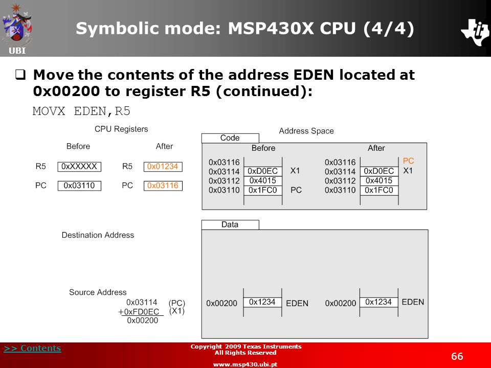 UBI >> Contents 66 Copyright 2009 Texas Instruments All Rights Reserved www.msp430.ubi.pt Symbolic mode: MSP430X CPU (4/4)  Move the contents of the address EDEN located at 0x00200 to register R5 (continued): MOVX EDEN,R5