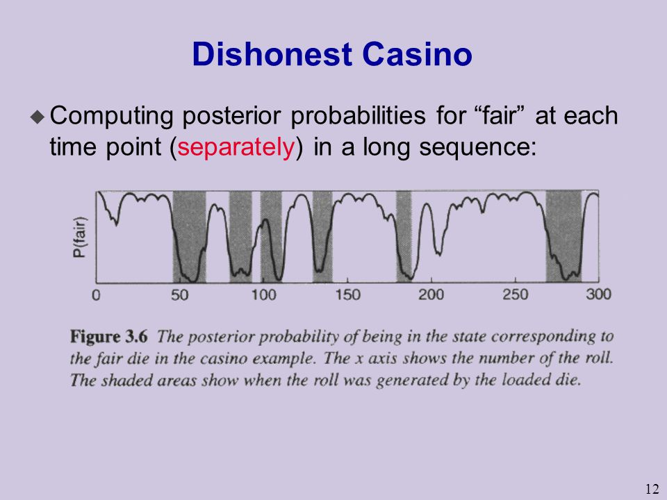 12 Dishonest Casino u Computing posterior probabilities for fair at each time point (separately) in a long sequence: