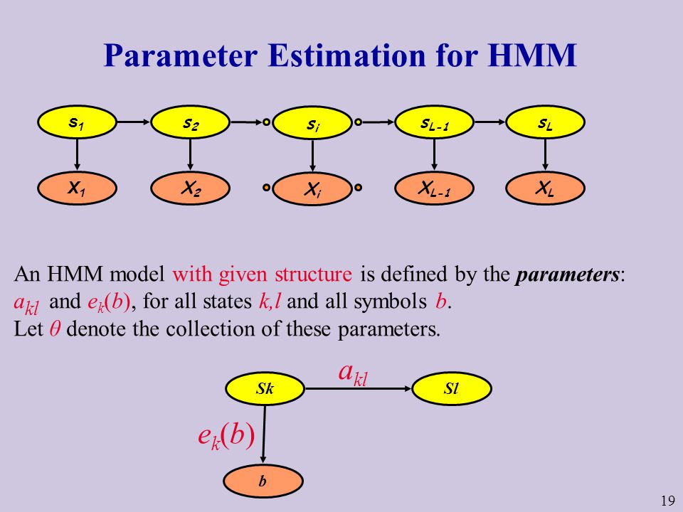 19 Parameter Estimation for HMM An HMM model with given structure is defined by the parameters: a kl and e k (b), for all states k,l and all symbols b.