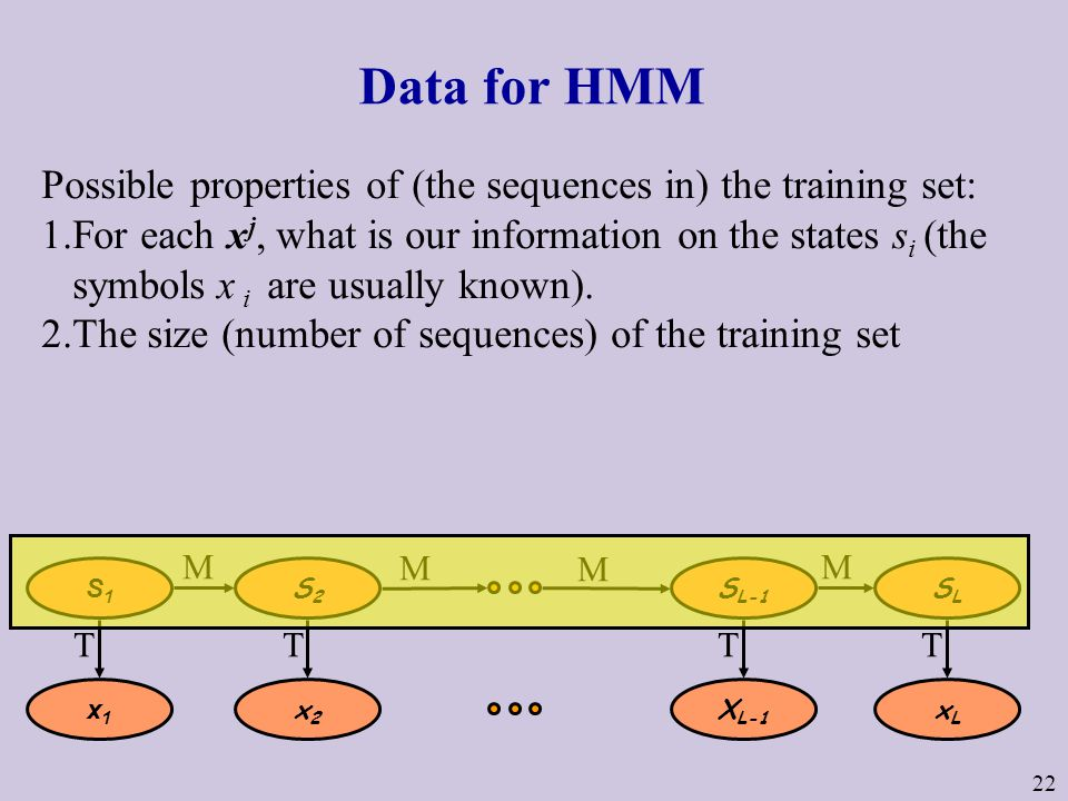 22 Data for HMM Possible properties of (the sequences in) the training set: 1.For each x j, what is our information on the states s i (the symbols x i are usually known).
