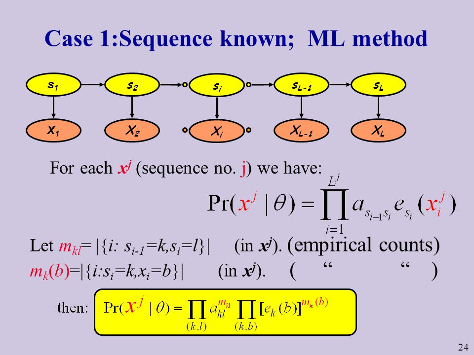24 Case 1:Sequence known; ML method s1s1 s2s2 s L-1 sLsL X1X1 X2X2 X L-1 XLXL sisi XiXi Let m kl = |{i: s i-1 =k,s i =l}| (in x j ).