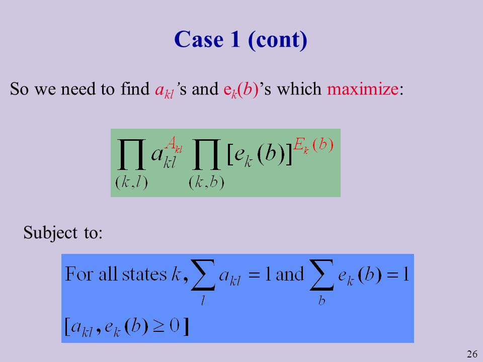 26 Case 1 (cont) So we need to find a kl 's and e k (b)'s which maximize: Subject to: