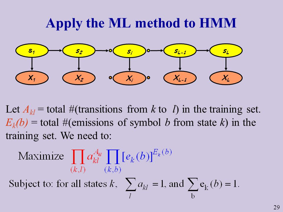 29 Apply the ML method to HMM Let A kl = total #(transitions from k to l) in the training set.