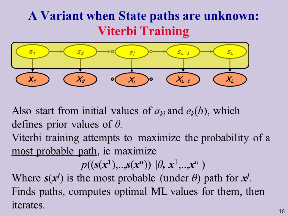 46 A Variant when State paths are unknown: Viterbi Training Also start from initial values of a kl and e k (b), which defines prior values of θ.