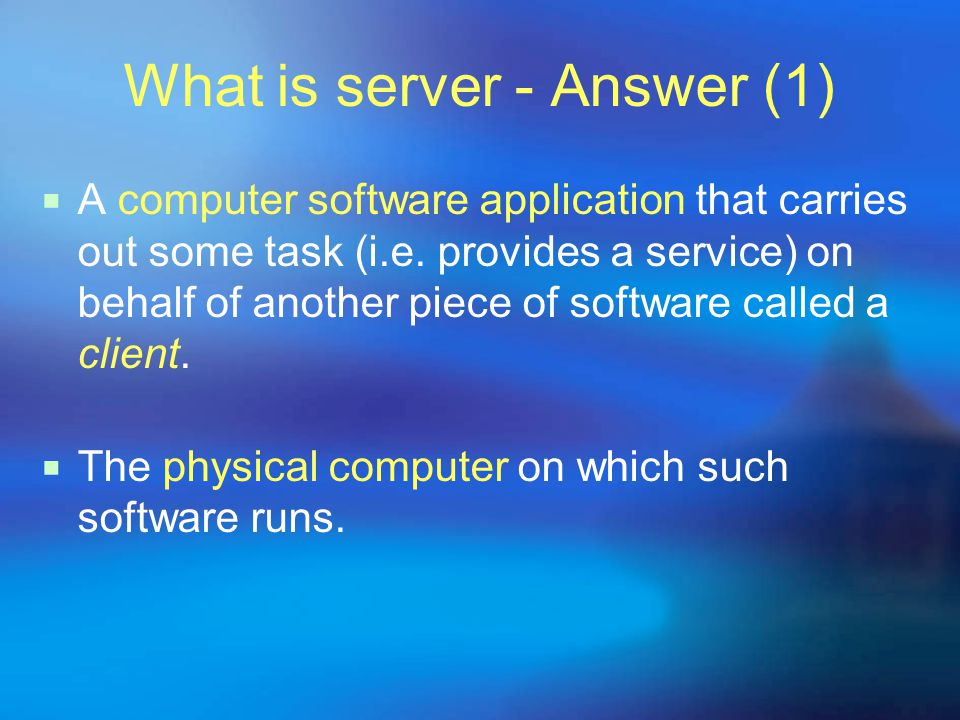 Web Server Sun Peng What is server - Question  First thing