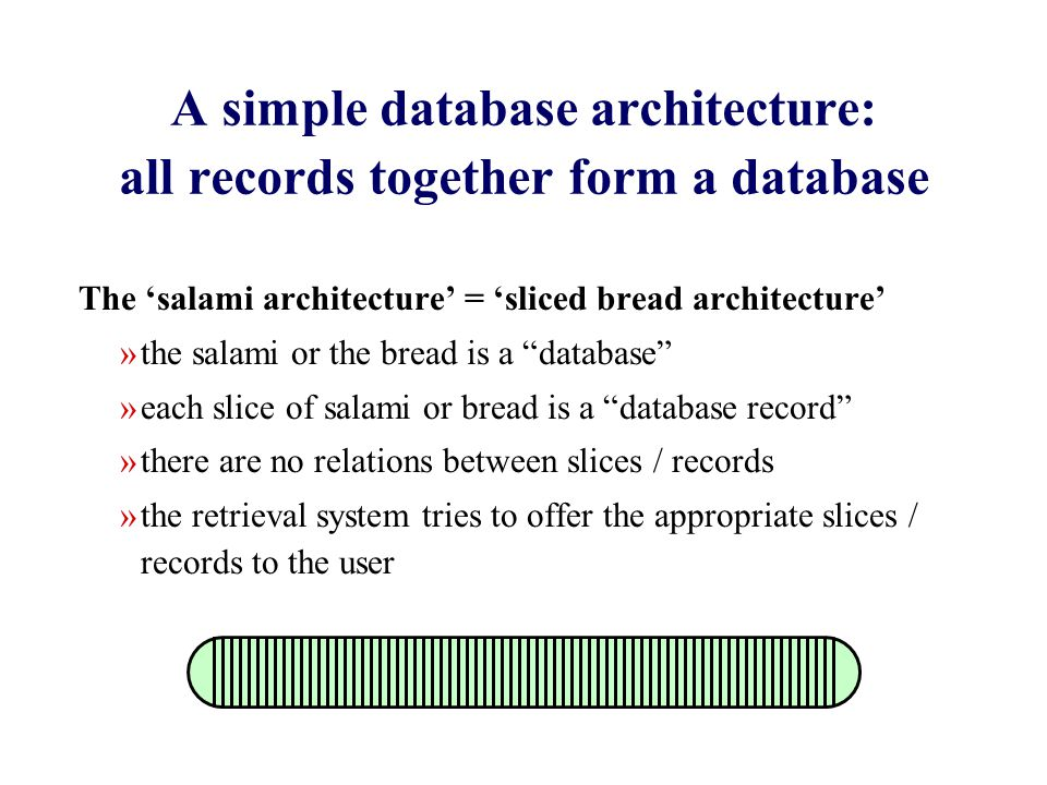 A simple database architecture: all records together form a database The 'salami architecture' = 'sliced bread architecture' »the salami or the bread is a database »each slice of salami or bread is a database record »there are no relations between slices / records »the retrieval system tries to offer the appropriate slices / records to the user