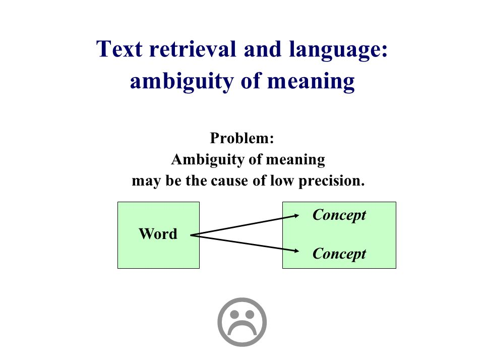 Text retrieval and language: ambiguity of meaning Problem: Ambiguity of meaning may be the cause of low precision.