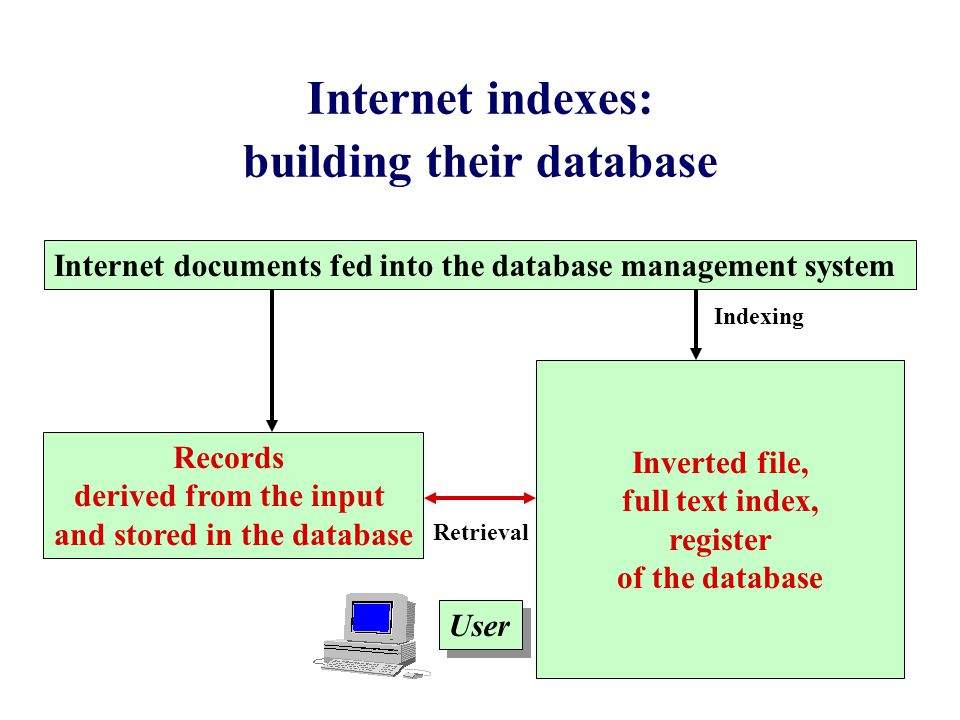 Internet indexes: building their database Inverted file, full text index, register of the database User Records derived from the input and stored in the database Internet documents fed into the database management system Indexing Retrieval