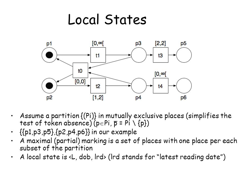 Local States Assume a partition {(Pi)} in mutually exclusive places (simplifies the test of token absence) (p  Pi, p = Pi \ {p}) {{p1,p3,p5},{p2,p4,p6}} in our example A maximal (partial) marking is a set of places with one place per each subset of the partition A local state is (lrd stands for latest reading date ) _