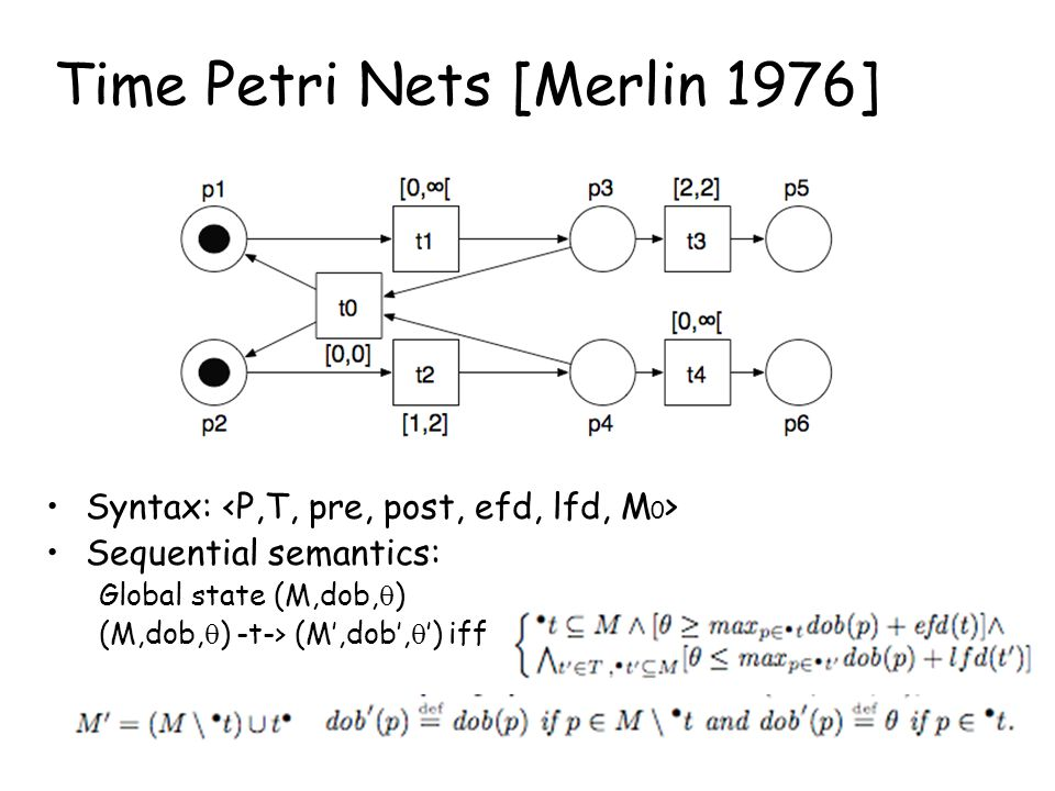 Time Petri Nets [Merlin 1976] Syntax: Sequential semantics: Global state (M,dob,  ) (M,dob,  ) -t-> (M',dob',  ') iff