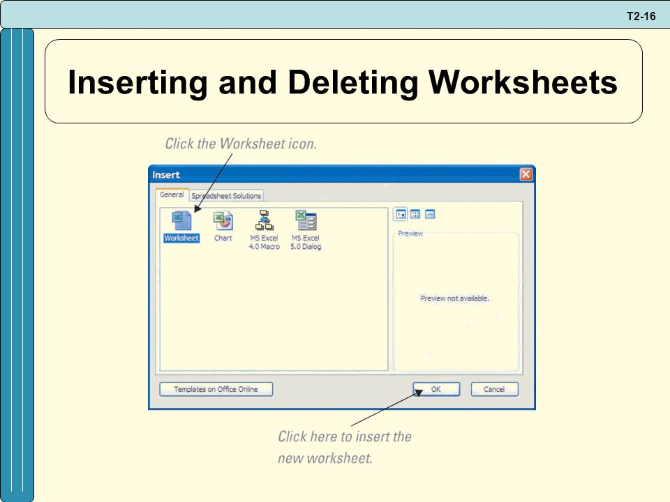 T2-16 Inserting and Deleting Worksheets