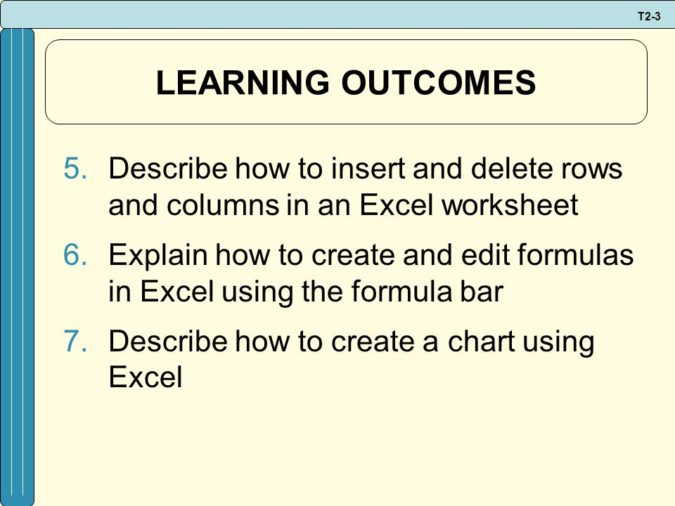 T2-3 LEARNING OUTCOMES 5.Describe how to insert and delete rows and columns in an Excel worksheet 6.Explain how to create and edit formulas in Excel using the formula bar 7.Describe how to create a chart using Excel