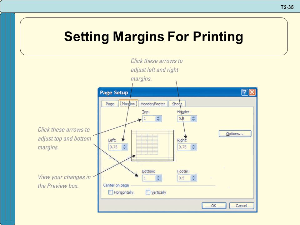 T2-35 Setting Margins For Printing