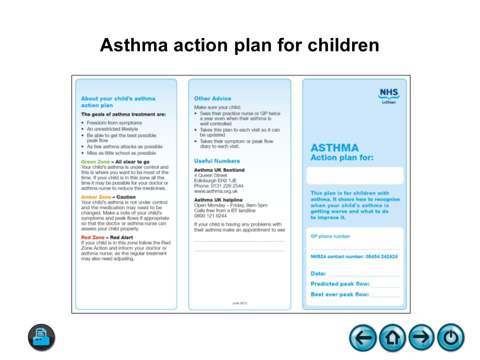 Asthma action plan for children