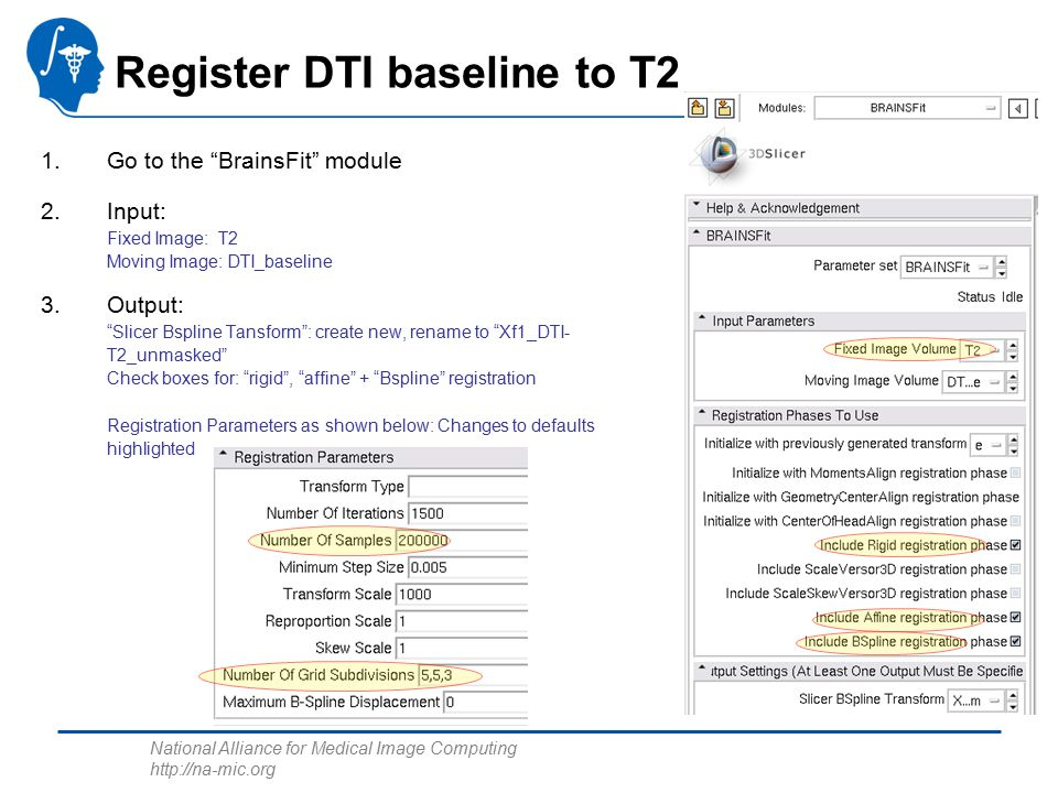 National Alliance for Medical Image Computing http://na-mic.org Register DTI baseline to T2 1.Go to the BrainsFit module 2.Input: Fixed Image: T2 Moving Image: DTI_baseline 3.Output: Slicer Bspline Tansform : create new, rename to Xf1_DTI- T2_unmasked Check boxes for: rigid , affine + Bspline registration Registration Parameters as shown below: Changes to defaults highlighted