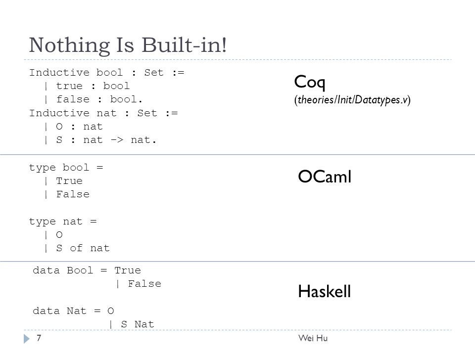 Nothing Is Built-in. Inductive bool : Set := | true : bool | false : bool.