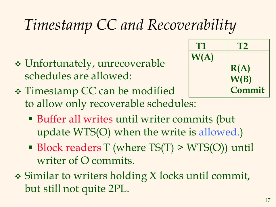 17 Timestamp CC and Recoverability  Timestamp CC can be modified to allow only recoverable schedules:  Buffer all writes until writer commits (but update WTS(O) when the write is allowed.)  Block readers T (where TS(T) > WTS(O)) until writer of O commits.