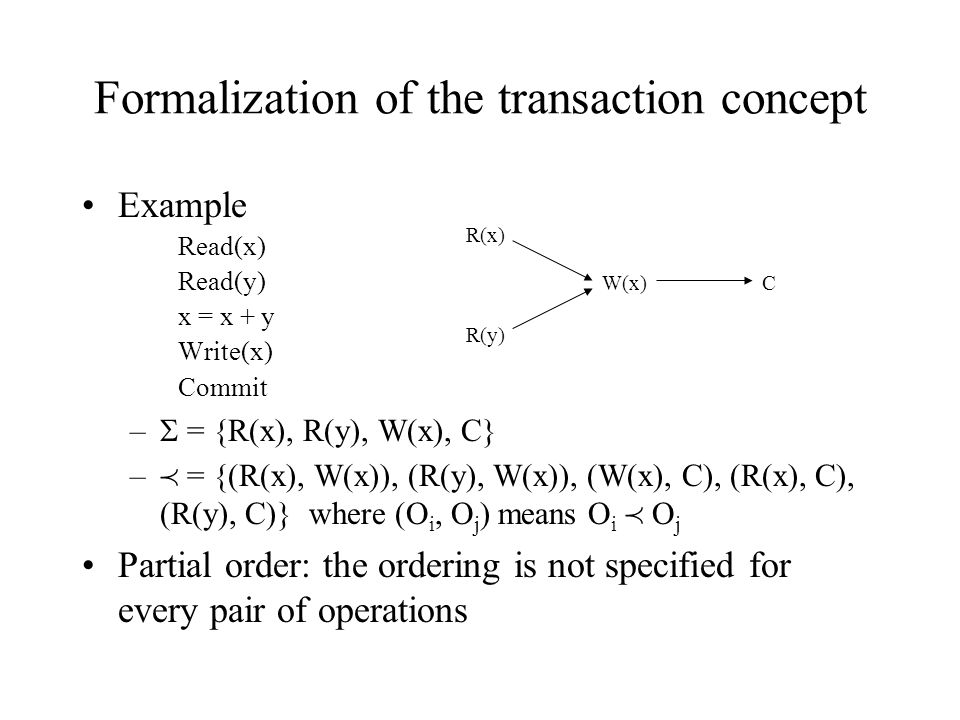 Formalization of the transaction concept Example Read(x) Read(y) x = x + y Write(x) Commit –  = {R(x), R(y), W(x), C} –  = {(R(x), W(x)), (R(y), W(x)), (W(x), C), (R(x), C), (R(y), C)} where (O i, O j ) means O i  O j Partial order: the ordering is not specified for every pair of operations R(x) R(y) W(x)C