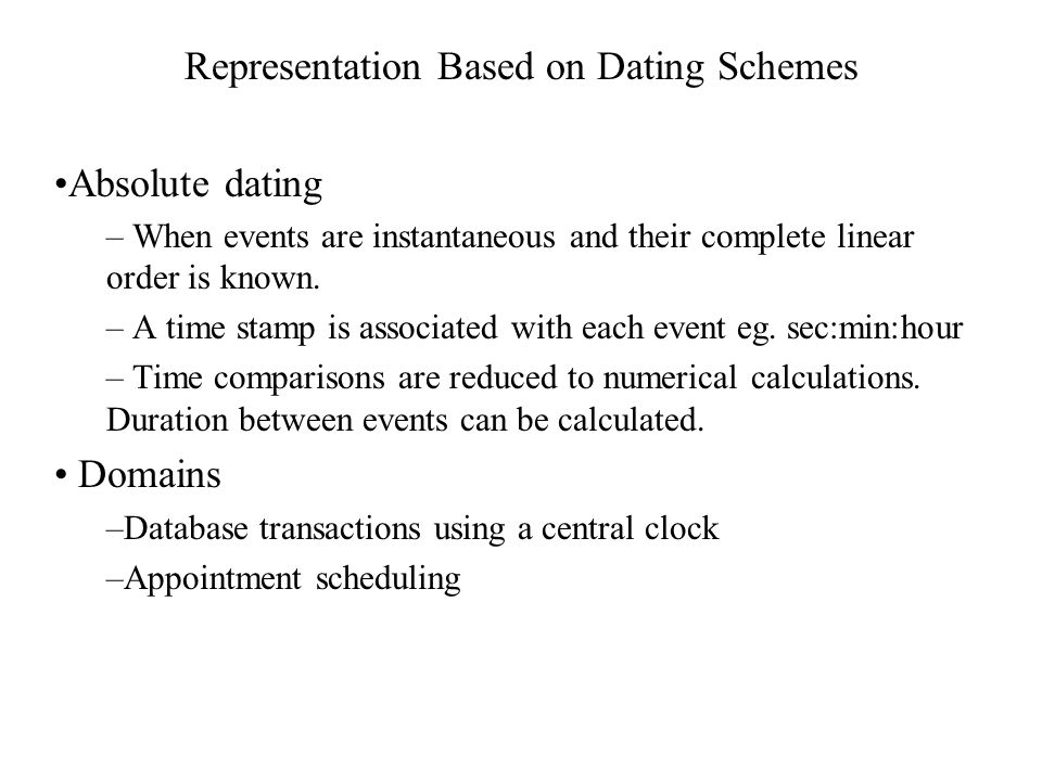 Representation Based on Dating Schemes Absolute dating – When events are instantaneous and their complete linear order is known.