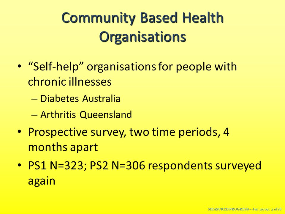 Community Based Health Organisations Self-help organisations for people with chronic illnesses – Diabetes Australia – Arthritis Queensland Prospective survey, two time periods, 4 months apart PS1 N=323; PS2 N=306 respondents surveyed again MEASURED PROGRESS – Jan.