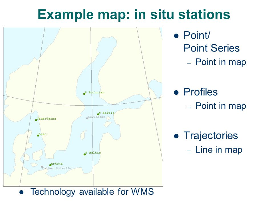 Example map: in situ stations Point/ Point Series – Point in map Profiles – Point in map Trajectories – Line in map Technology available for WMS