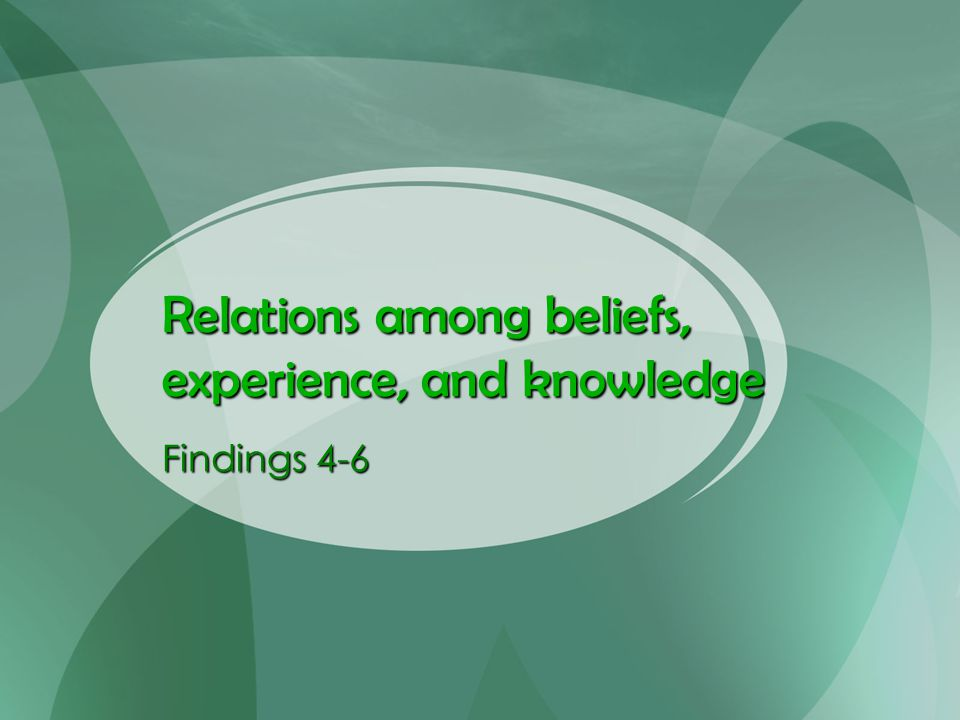 Relations among beliefs, experience, and knowledge Findings 4-6