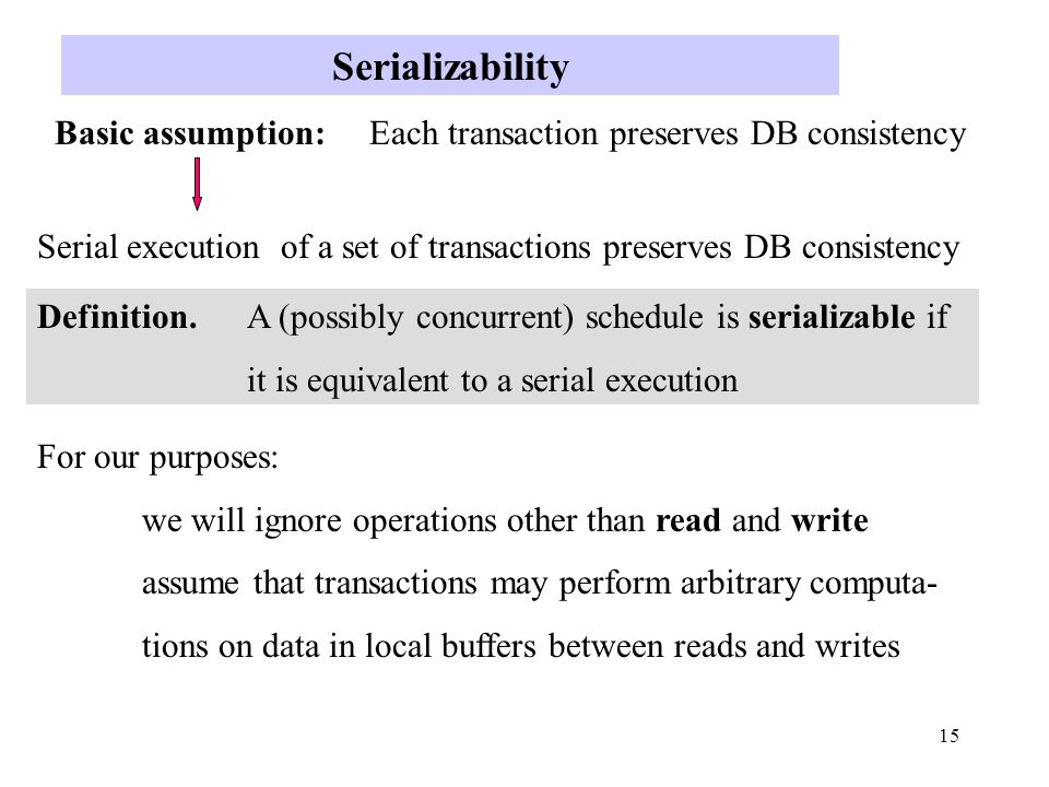 15 Serializability Basic assumption: Each transaction preserves DB consistency Serial execution of a set of transactions preserves DB consistency Definition.