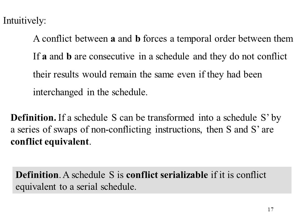 17 Intuitively: A conflict between a and b forces a temporal order between them If a and b are consecutive in a schedule and they do not conflict their results would remain the same even if they had been interchanged in the schedule.