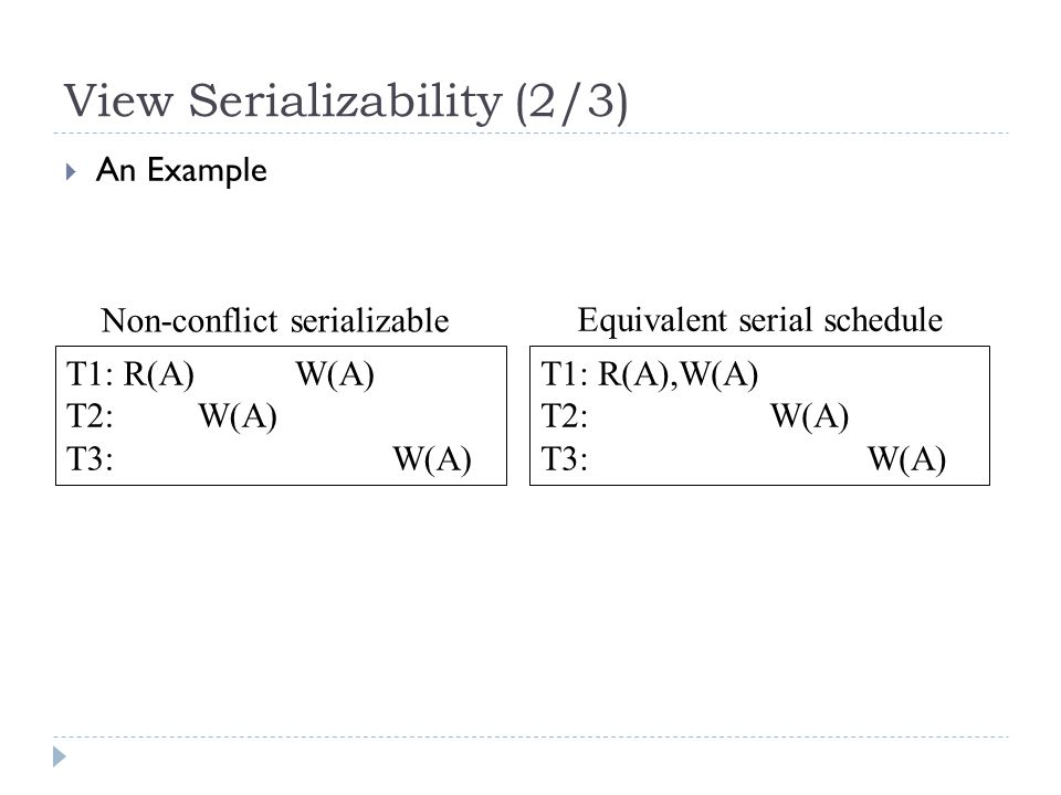 View Serializability (2/3)  An Example T1: R(A) W(A) T2: W(A) T3: W(A) T1: R(A),W(A) T2: W(A) T3: W(A) Non-conflict serializable Equivalent serial schedule